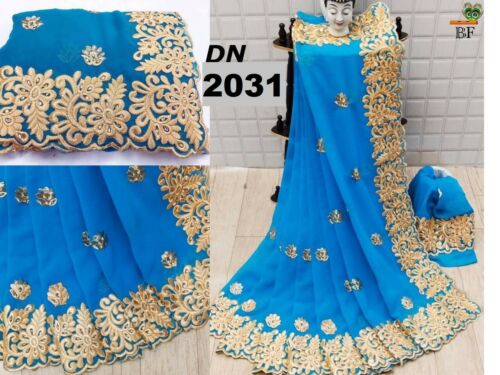 Latest Heavy Georgette Embroidery Saree Indian Ethnic Wedding Party wear Sari