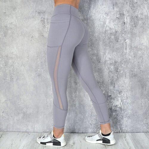 Mesh Patchwork Leggings Women Breathable Pocket Yoga Pants Fitness Workout Capri