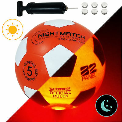 Größe 5 von NIGHTMATCH sw//or LEUCHTFUSSBALL mit Pumpe und Batterien