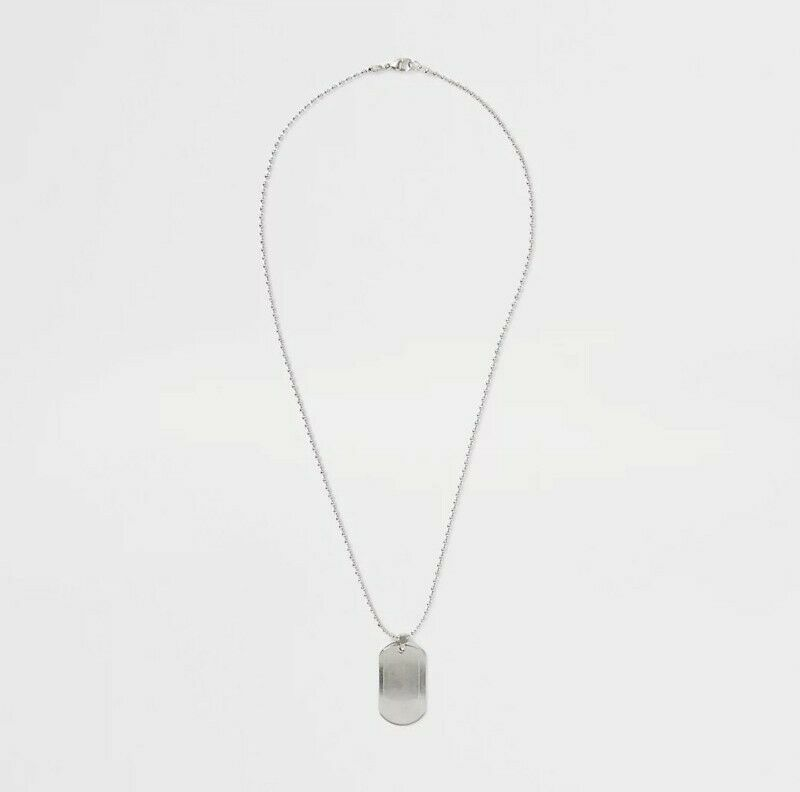 Men's River Island Metal Grey Double Dog tag Chain