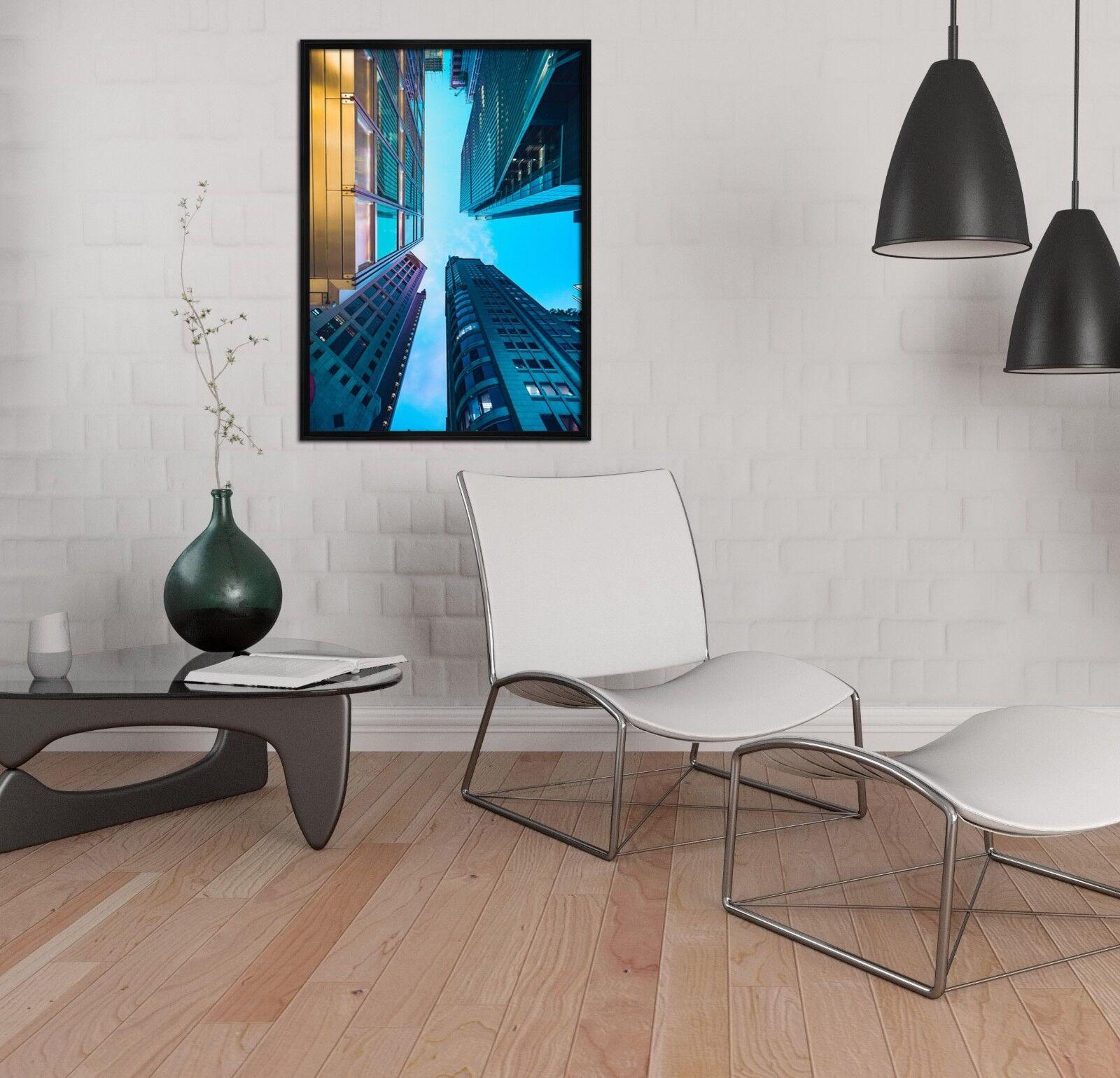 3D Blau Building 47 Framed Poster Home Decor Print Painting Art AJ UK