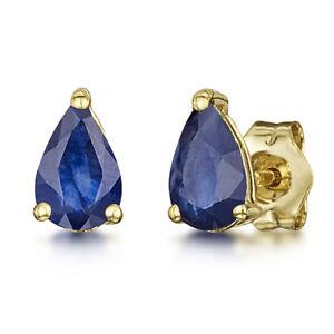 9ct-Oro-Amarillo-Azul-Pendientes-forma-de-Pera-Zafiro-Engaste-DORMILONAS-6x4mm