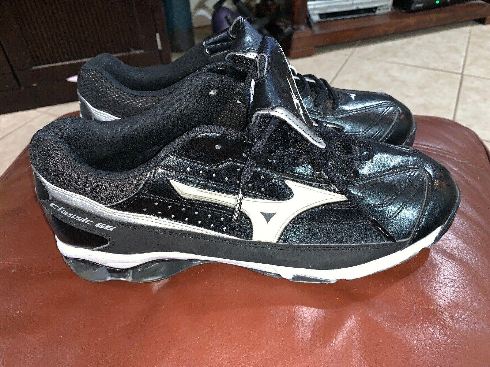 Nuevo para hombre  Mizuno 9 Spike botín de béisbol de metal G6 Clásico Baja blancoo Negro Talla 13  precios mas baratos