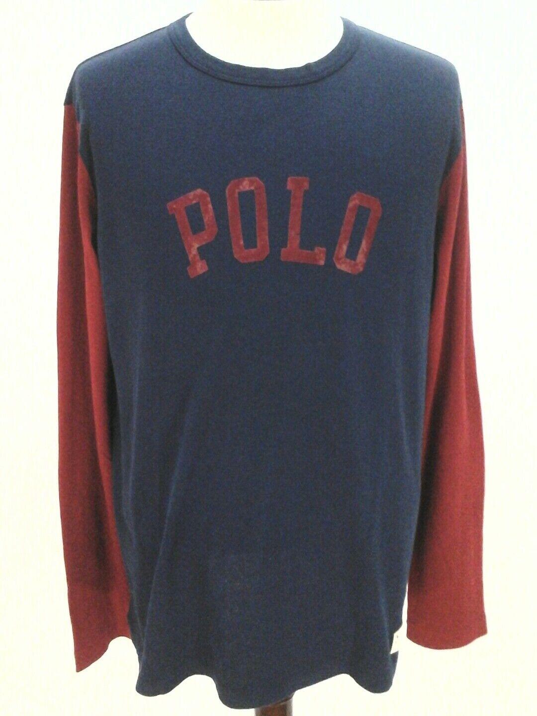 Polo Ralph Lauren Mens Long Sleeve Vintage Look Print T-Shirt X & XL New
