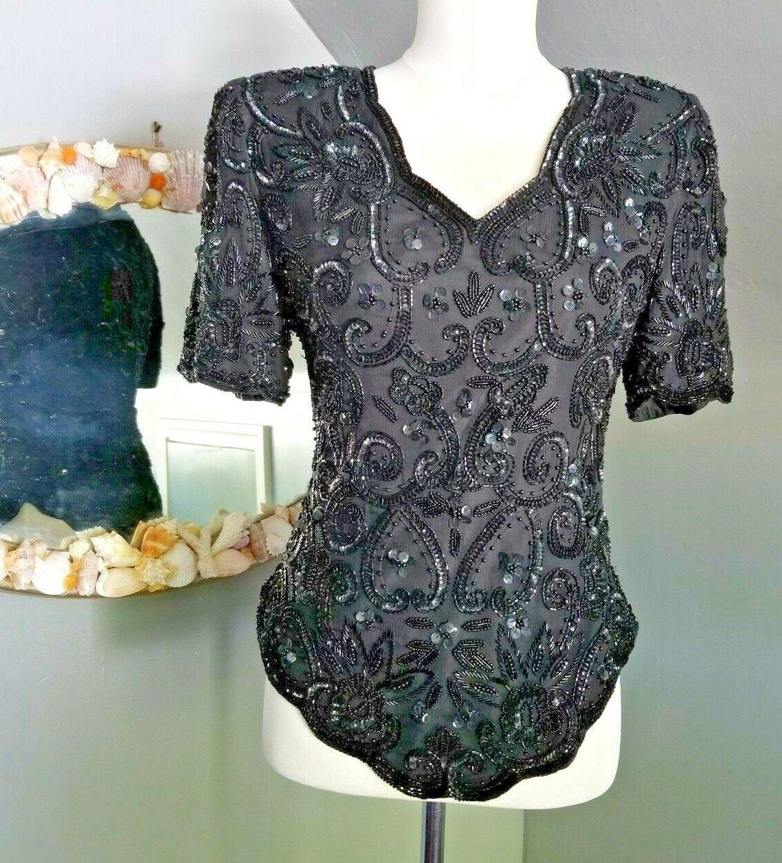 woman's vintage Lawrence Kozar black beaded top S