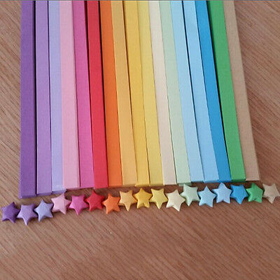 80pcs Origami Lucky Star Paper Strips Folding Paper Ribbons Colors HF