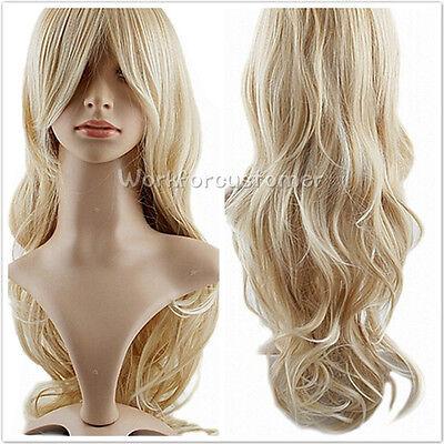 Sexy Women Ladies Blonde Wavy Curly Cosplay Wig Long Hair Lady Full Wigs +Cap