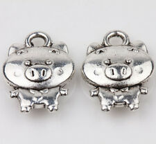 10pcs Tibet Silver Pig Loose Spacer Charms Pendants Jewelry Finding 15x10mm