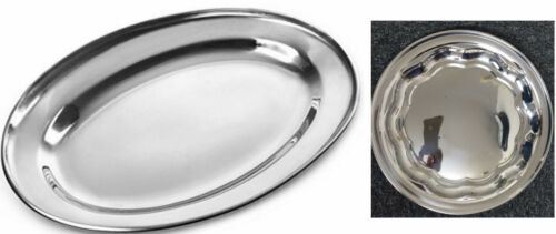 STAINLESS STEEL OVAL//ROUND TRAYS DISH MEAT PLATTER ROASTED MEAT  SALAD