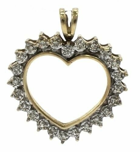 10kt Yellow gold Heart Pendant with Diamonds