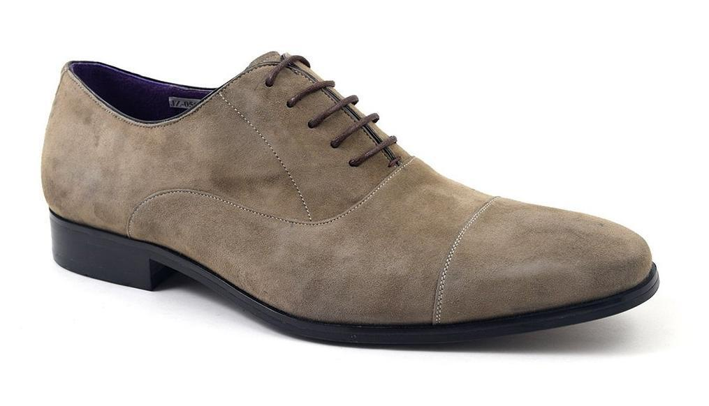 Gucinari PETRUS Mens Suede Soft Leather Formal Dress Cap Toe Oxford shoes Taupe
