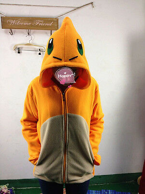 Pokemon Charmander orange dragon hood hoodie Costume Cosplay fan made Coat S~XL