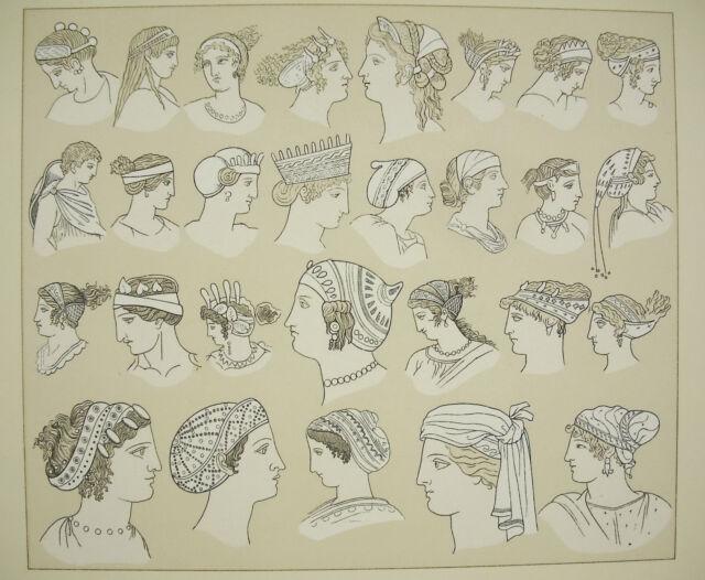 Headpieces Traditional Greece Antique, Massias Firmin Didot c1888 Headdress Trad
