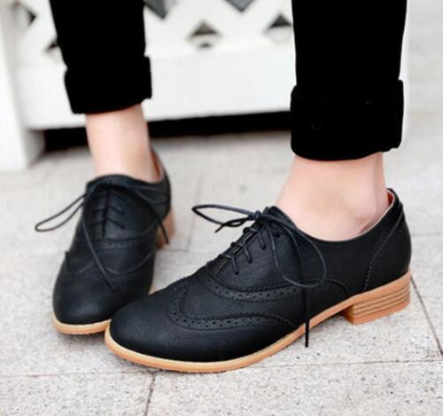 Retro Oxfords Womens  College Leather Flat Low Heels Brogues Lace Up Dress Shoes