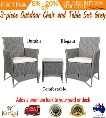 3 Piece Wicker Outdoor Chair Side Table Furniture Set Grey Patio Cushion Corner