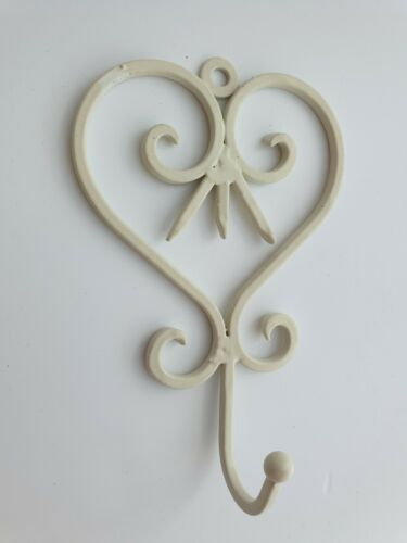14.5x9.5cm Home Decor Shabby Chic Metal Ivory Wall Hanging Heart Hook