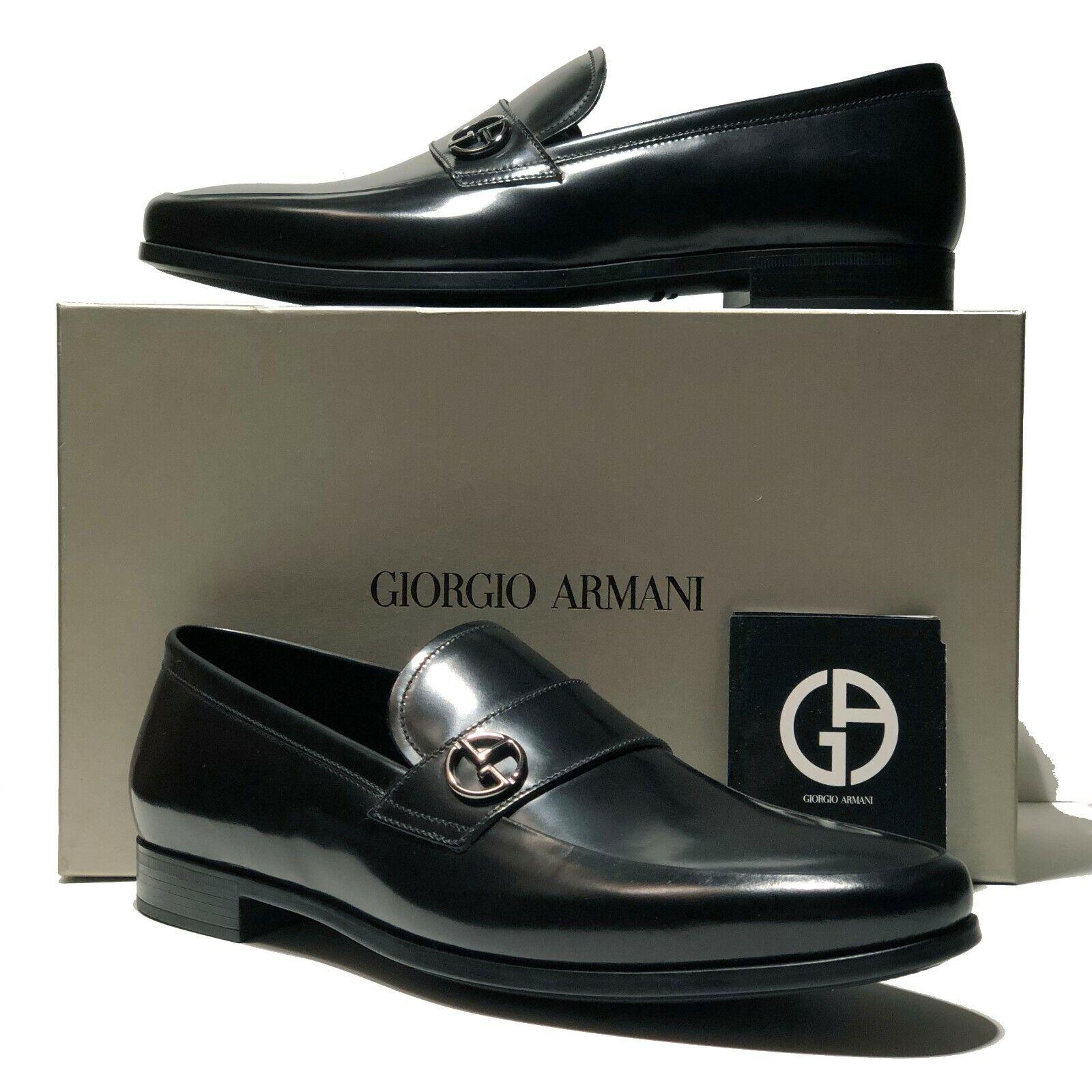 Zapatos de Cuero Armani Negro poco Mocasines para Hombre Formales X2A248 Casual Moda Esmoquin