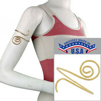 Usa Made In Bracelet Upper Arm Spiral Gold Tone Metal Cuff Scroll on sale