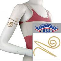 Usa Made In Bracelet Upper Arm Spiral Gold Tone Metal Cuff Scroll