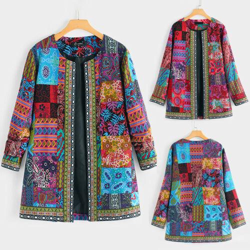 Women Vintage Floral Long Sleeve Outwear Cotton Jacket Cardigan Coat Overcoat UK