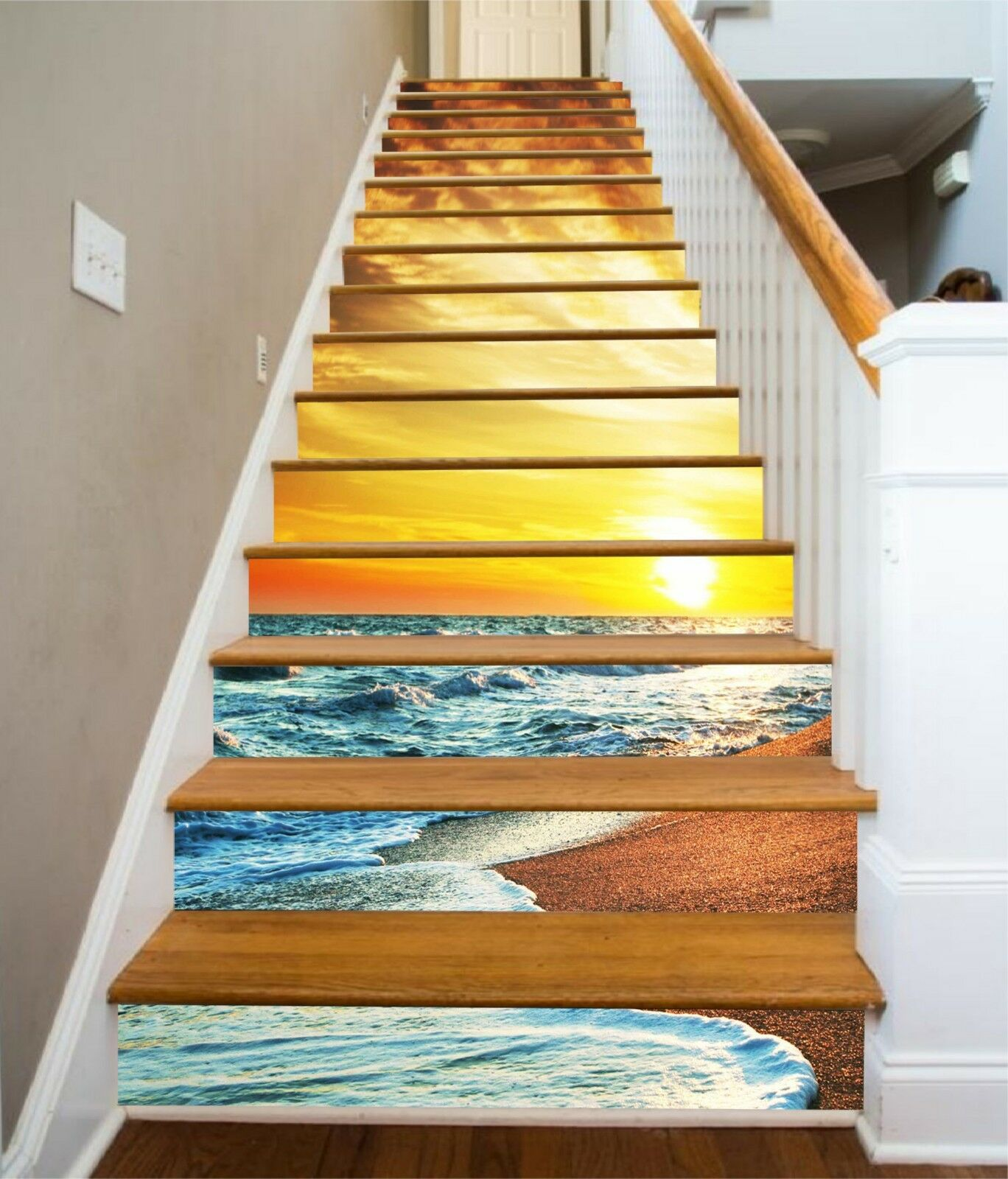 3D Sunset Sea 16 Stair Risers Decoration Photo Mural Vinyl Decal Wallpaper CA