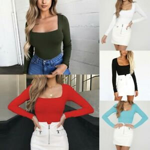 Sexy-Women-Blouse-Shirt-Square-Collar-Solid-Long-Sleeve-Slim-Tops-Shirt-Pullover