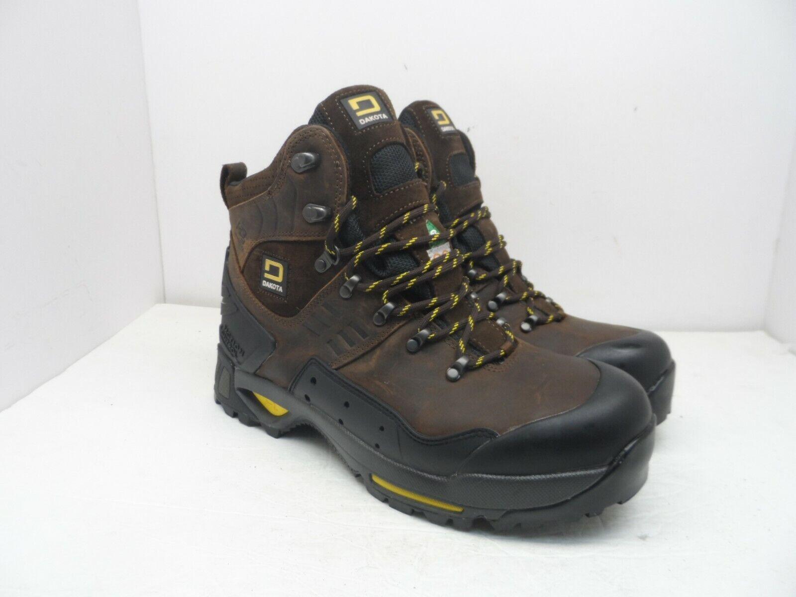 DAKOTA Mens HD3 Steel Toe Composite Plate Waterproof Hiking Work Boots Brown 12M