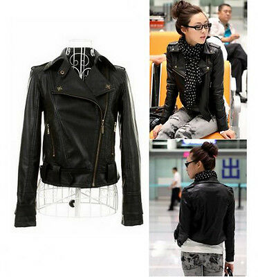 Fashion Woman Ladies PU Leather Short Motorcycle Jacket Coat Outerwear Slim Fit