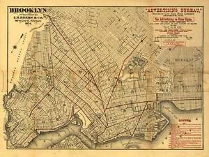 Map Of New York Brooklyn.Details About Brooklyn Railroad Company Map 1874 New York Vintage Repro Art Print Poster 24x32