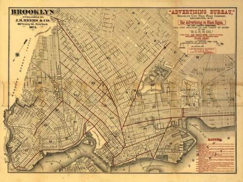 BROOKLYN RAILROAD COMPANY MAP 1874 New York Vintage Repro Art Print Poster 24x32