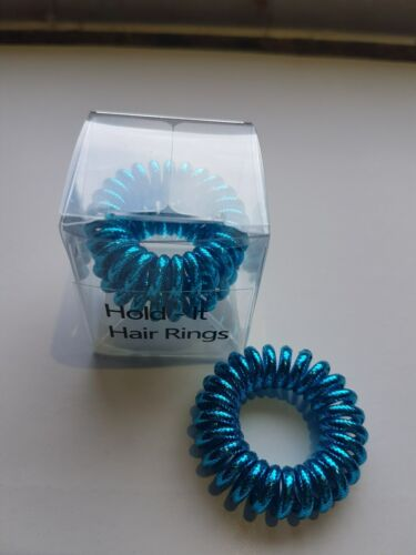 Hold It Blue Sparkly Hair Rings Hair Bobbles Hairbands Spiral  3pkx3.5cm Boxed