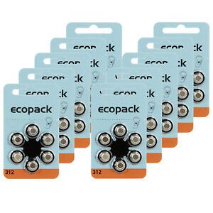 60x-Original-Varta-Eco-Pack-Typ-ZA-312-Knopfzelle-Hoergeraete-Batterie-60-Stk-Set