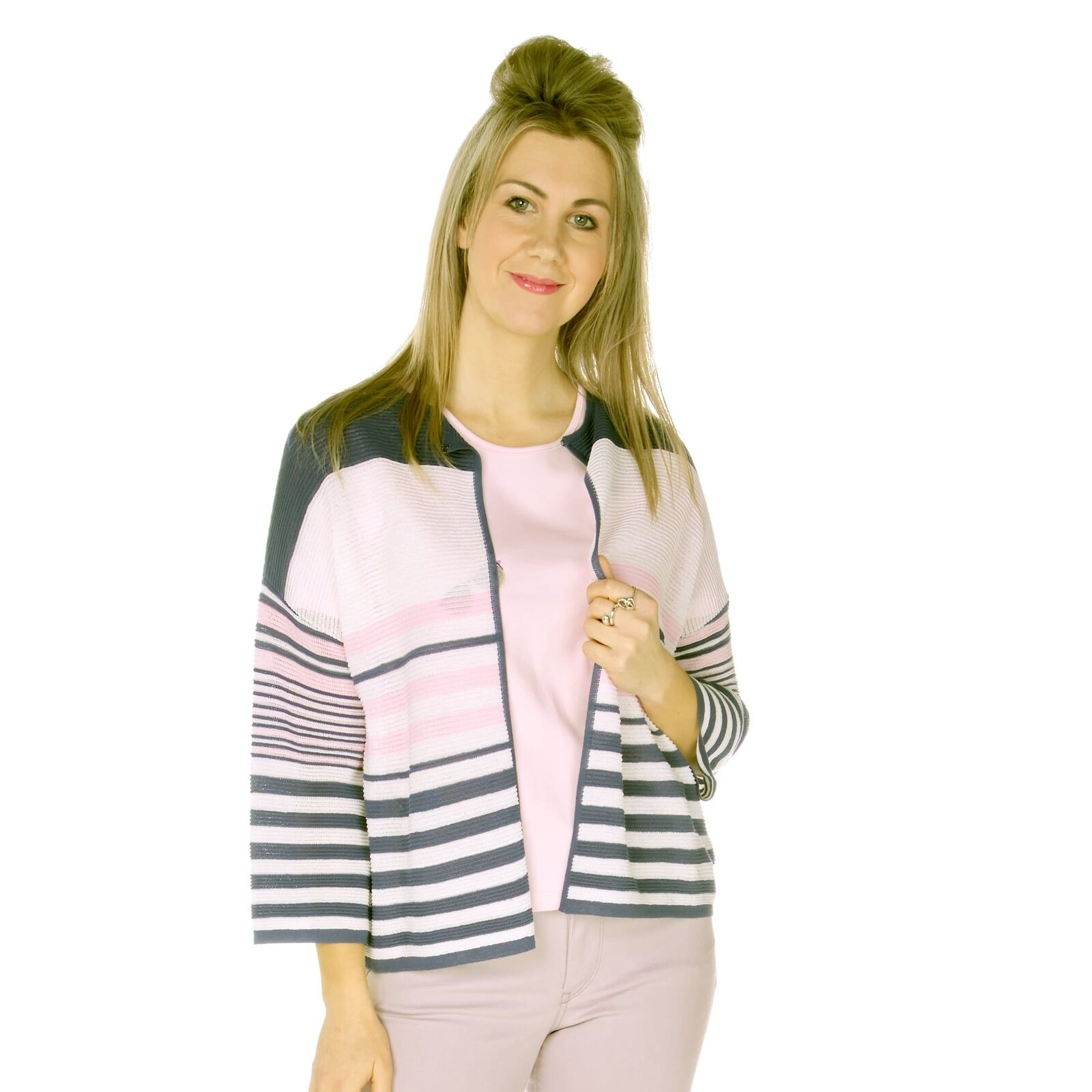 Emreco Cardigan Ashley, White with pink and navy, Fine Knit