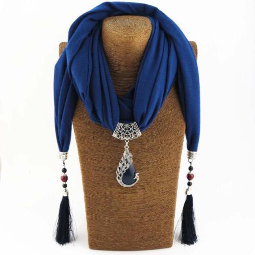 Écharpe Pendentif Collier Ethnique avec perles Bijoux Nature Pierre
