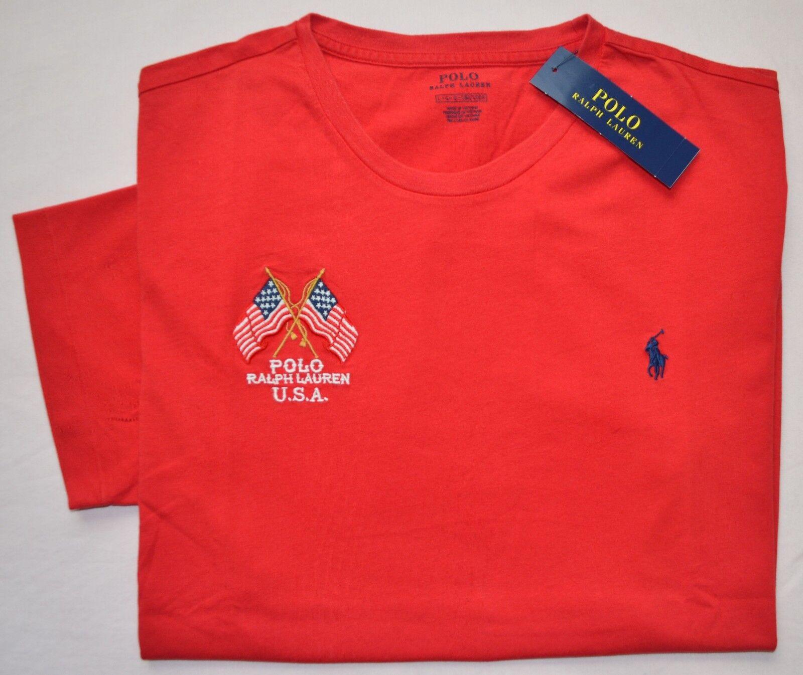 Neu Groß Polo Ralph Lauren Herren American Us Flagge T-Shirt Rundhals Rot Top