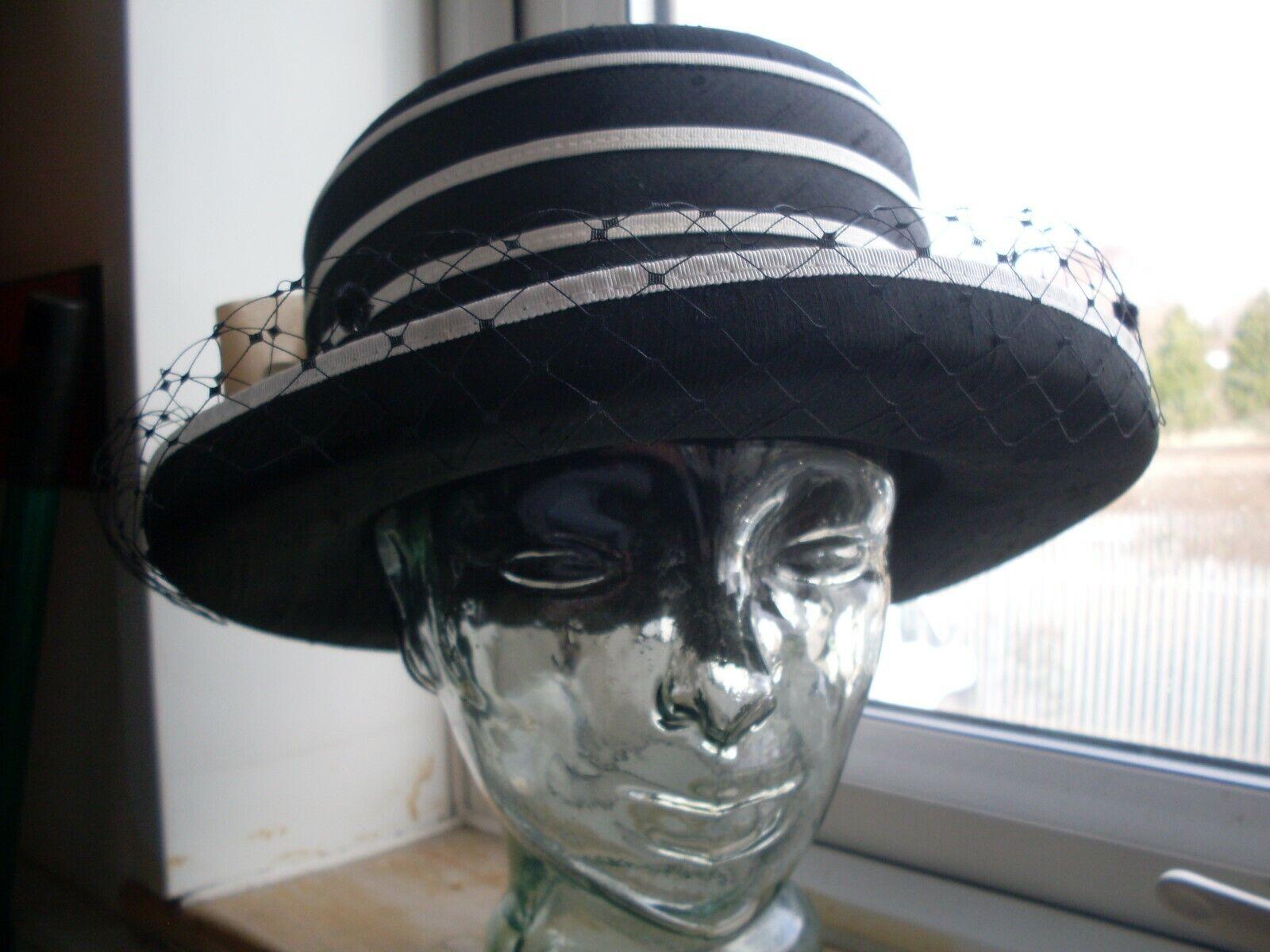 LADIES BLACK AND CREAM HAT ~ Races -Funeral -Steampunk look