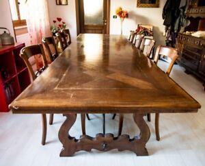 Tavolo antico in legno con 8 sedie. | eBay