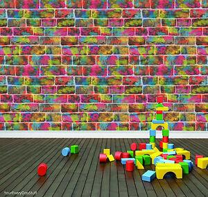 Tapete rasch multifarben ziegel leuchtende neonfarben kinderzimmer 291407 ebay - Kinderzimmer tapete rasch ...