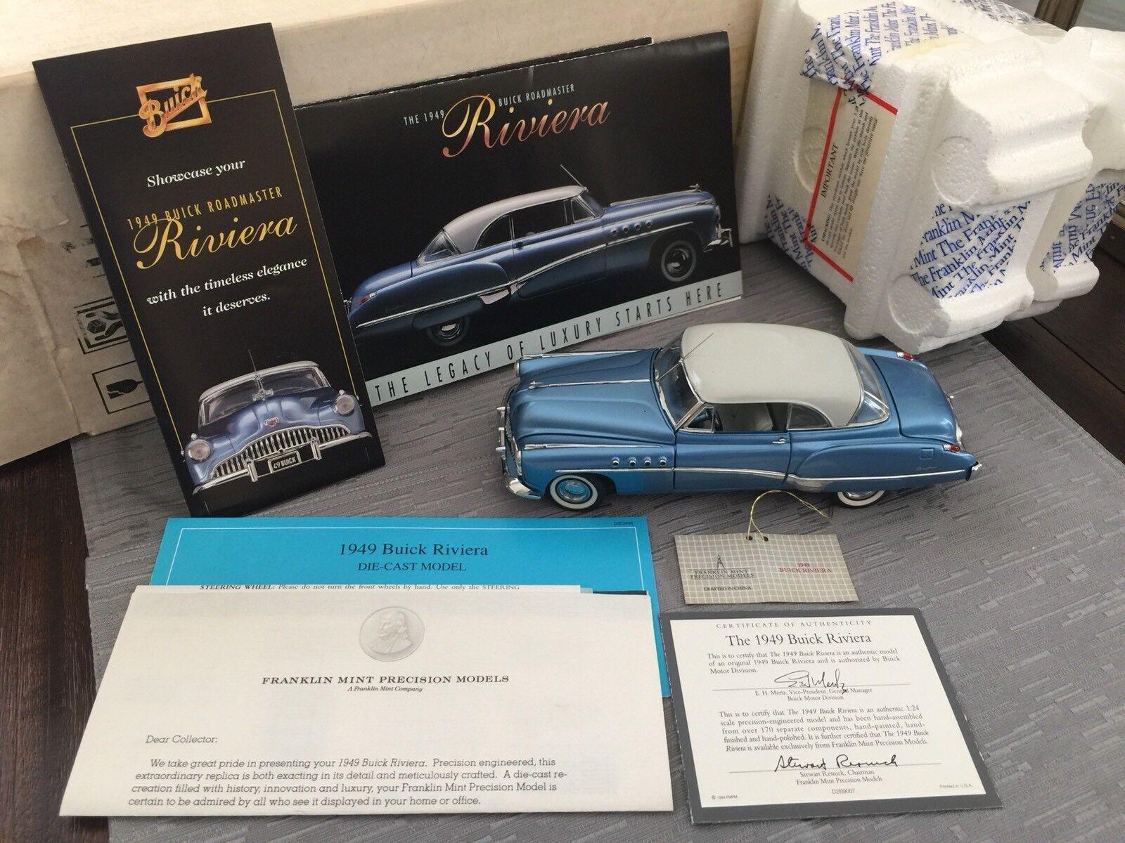 FRANKLIN MINT 1949 BUICK RIVIERA Hard TOP METALLISK blå 1 24 DIESAT W COA OCH låda