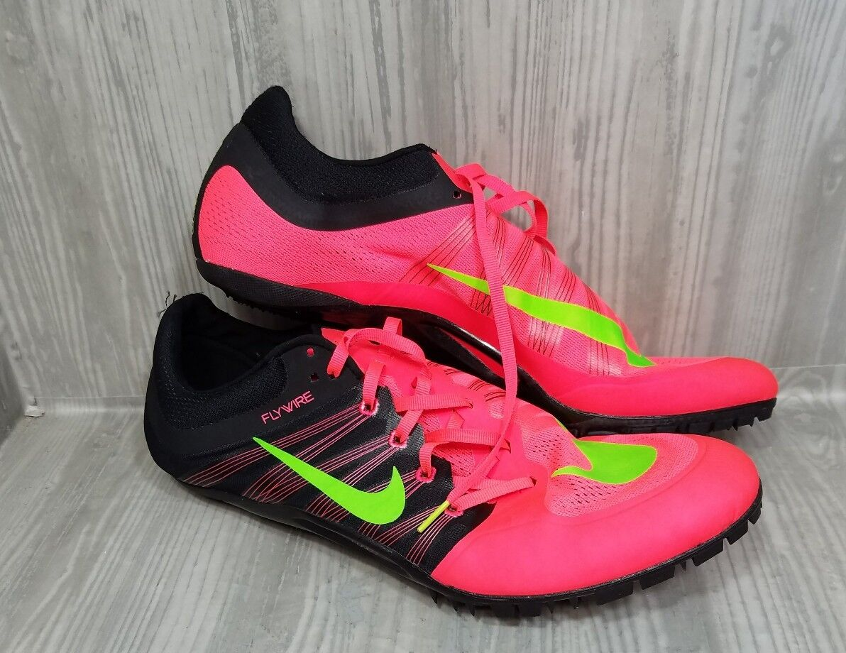 Nike  Zoom Flywire Track Shoes Bright Neon Colors Orange Green No Spikes Sz 15