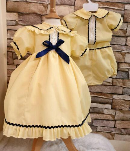 DREAM LEMON NAVY  TRADITIONAL LINED GIRLS  DRESS 0-5 YEARS or reborn dolls