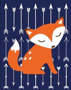 Orange and Navy Blue Woodland Nursery Print, Fox Nursery Decor 8x10