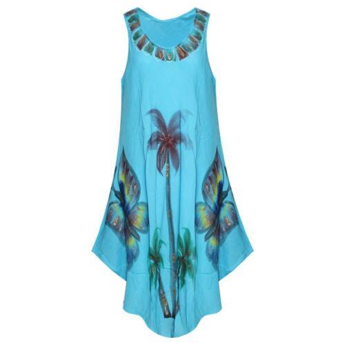 LADIES FLORAL SLEEVELESS DRESS TOP LAGENLOOK SUMMER SUN KAFTAN BEACH LONG MIDI