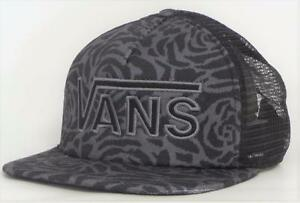 b3616e498f8 Vans Off The Wall Drop V Womens Black Rose Snapback Trucker Hat NEW ...