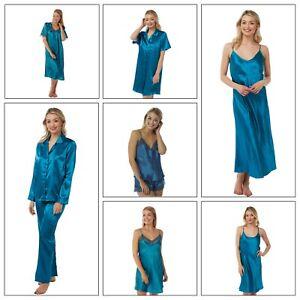 Ladies Teal Long Satin Chemise PJs Pyjamas Set Nightdress Size 8-34 PLUS SIZE