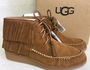 d477f284501b UGG Australia CALEB Chestnut FRINGE NUBUCK SLIP ON BOOTIES SHOES ...