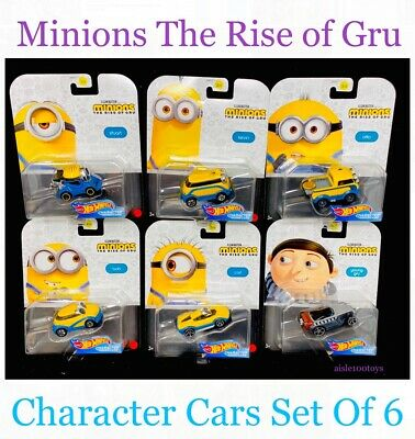 Hot Wheels 2020 1:64 Character Cars Minions The Rise of Gru Complete Set of 6