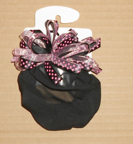 "NWT GIRLS HOT PINK POLKA DOT /& BLACK  Chiffon Snood Ballet Bun Holder 3/"" across"