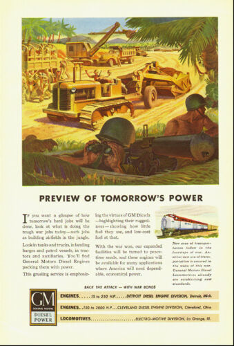 1943 WW2 Ad, GM Diesel Locomotives at War, art construction in Pacific 032814