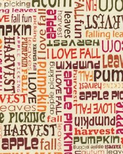 Fall Autumn Fabric Words Phrases Thanksgiving Harvest Leaves